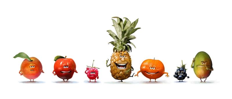Mascottes fruits personnifiés Oasis