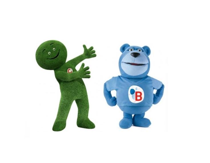 Mascottes publicitaires Cetelem et Butagaz